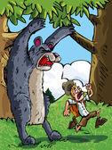 Cartoon of bear scaring a camper — Stock Vector