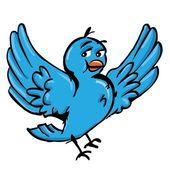 Cartoon of blue bird — Stock Vector