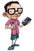 Cartoon nerd with glasses and a smartphone — Stock Vector