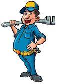 Hydraulik kreskówka z klucza — Wektor stockowy