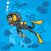 Cartoon diver swimming underwater with fish — Stock Vector
