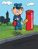 Listonosz kreskówka przez skrzynkę pocztową — Wektor stockowy