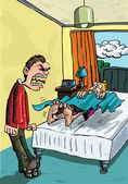 Cartoon of parent shouting at lazy teen — Stock Vector