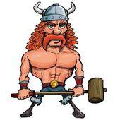 Cartoon viking with a big hammer — Stock Vector