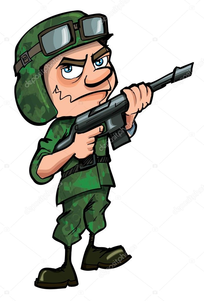 Cartoon soldier isolated on white — Stock Vector ... Soldier With Gun Cartoon