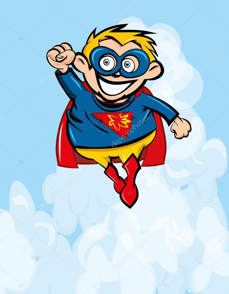 可爱卡通超人飞起来.背后的蓝天– 图库插图