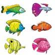Cartoon set of tropical fish - Stock Vector