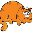 Cartoon of fat orange cat — Stockvectorbeeld