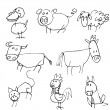 Cartoon set of farm animals — Stock Vector #8055092
