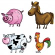 Cartoon set of farm animals — Stock Vector