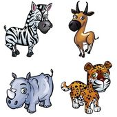 Set of cartoon wild animals — Vector de stock