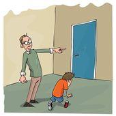 Cartoon of Dad scolding his son — Stock Vector
