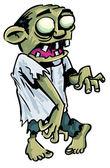 Cartoon zombie with exposed brain. — Stock Vector