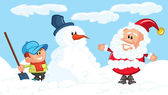 Cartoon von santa, schneemann und ein kleiner junge — Stockvektor