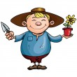 Cartoon gardener with pot plant — Imagen vectorial