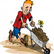 Cartoon of man pushing a wheelbarrow — Stock Vector