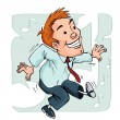 Vector de stock : Cartoon dancing office worker