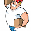Stock Vector: Cartoon of burly delivery mcarrying two boxes