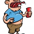 Stock Vector: Cartoon of beer drinker belching