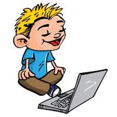 Cartoon of boy working on a laptop — Stock Vector