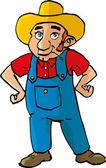 Cartoon farmer with dungarees — Stock Vector