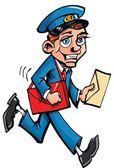 Cartoon mailman delivering mail — Stock Vector