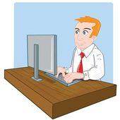 Cartoon office worker at his desk — Stockvector