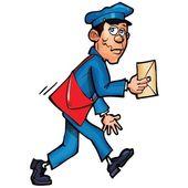 Cartoon mailman levererar e-post — Stockvektor