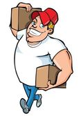 Cartoon of burly delivery man carrying two boxes — Stock Vector