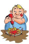 Caricatura de hombre con sobrepeso de comer papas fritas — Vector de stock