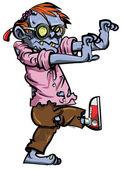 Dibujos animados de nerd zombie con gafas — Vector de stock