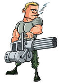 Cartoon soldier with a mini gun — Stock Vector