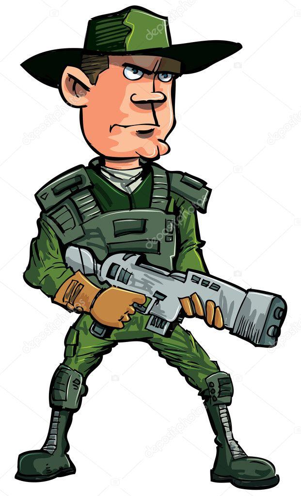 Soldato del cartone animato con un fucile automatico
