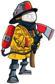 Cartoon fireman in a mask with an axe — Stock Vector