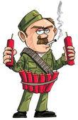 Cartoon Sapper with dynamite sticks. — Stock Vector