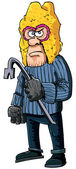 уголовного с ломом, носить балаклава — Cтоковый вектор