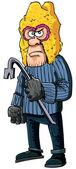 Verbrecher mit einem brecheisen, das tragen einer sturmhaube — Stockvektor