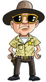 Kreskówka policjanta w ciemnych okularach — Wektor stockowy