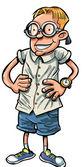 Cartoon nerd with hands on his hips — Stock Vector