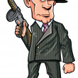 Royalty-Free Stock Vector Image: Cartoon 1920 gangster with a machine gun