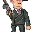 Stock Vector: Cartoon 1920 gangster with a machine gun
