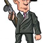 Cartoon 1920 gangster with a machine gun — Stock Vector