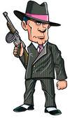 Cartoon 1920 gangster med en kulspruta — Stockvektor