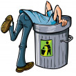Man looking deep into a garbage can — Stock Vector