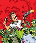 Cartoon of zombies attacking a man with a gun — Stock Vector
