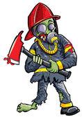 Cartoon zombie fireman with axe — Stock Vector