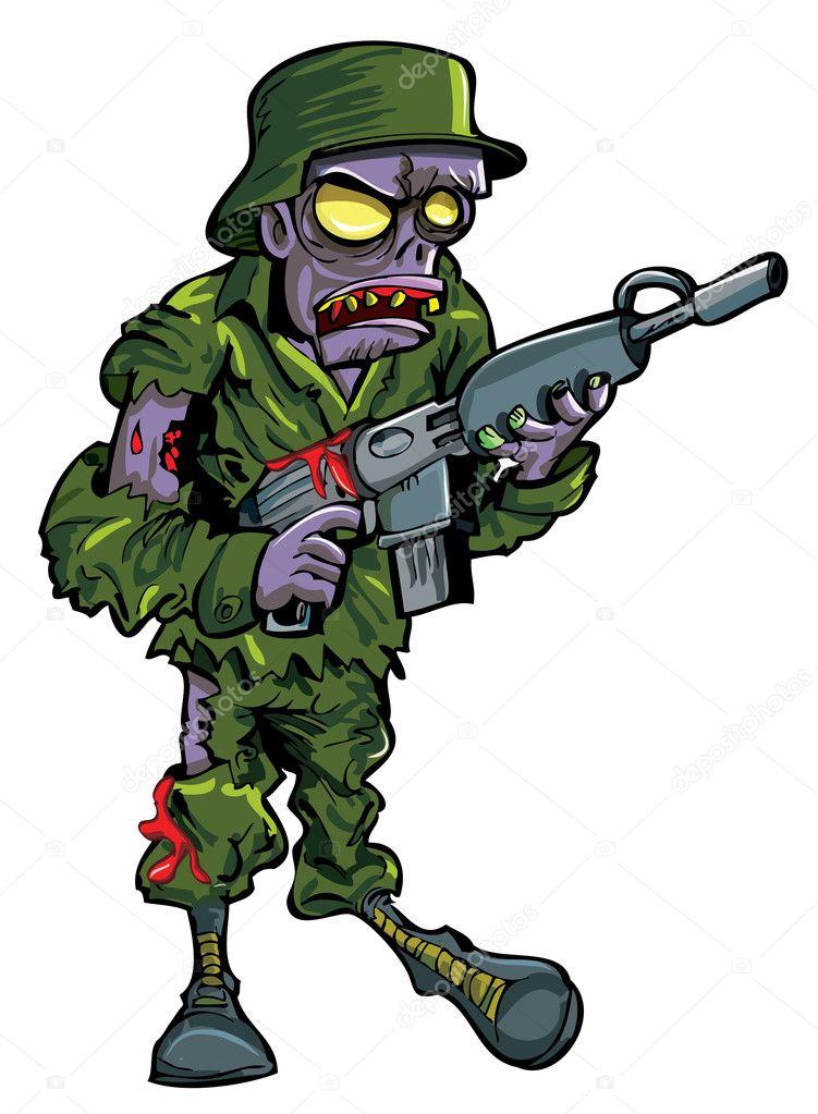 Cartoon zombie soldier with a gun — Stock Vector ... Soldier With Gun Cartoon