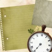 Old paper texture with the clock — Stock Photo