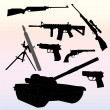 Stock Vector: Silhouettes of weapons - vector