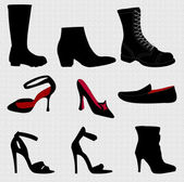 Women and men shoes - vector — Stock Vector